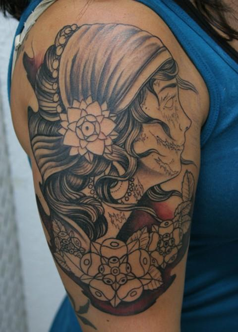 Great Gypsy Girl Tattoo On Right Shoulder