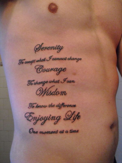 Great Life Quote Tattoo On Ribs