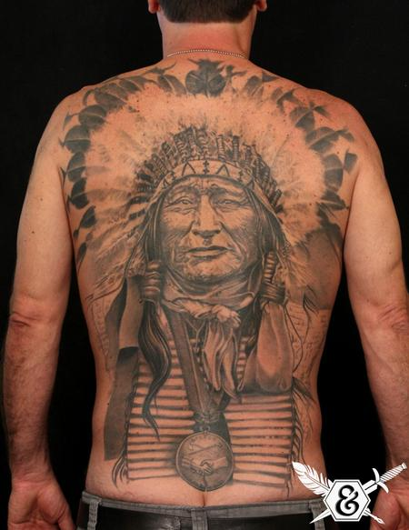 Great Native American Chief Portrait Tattoo On Whole Back