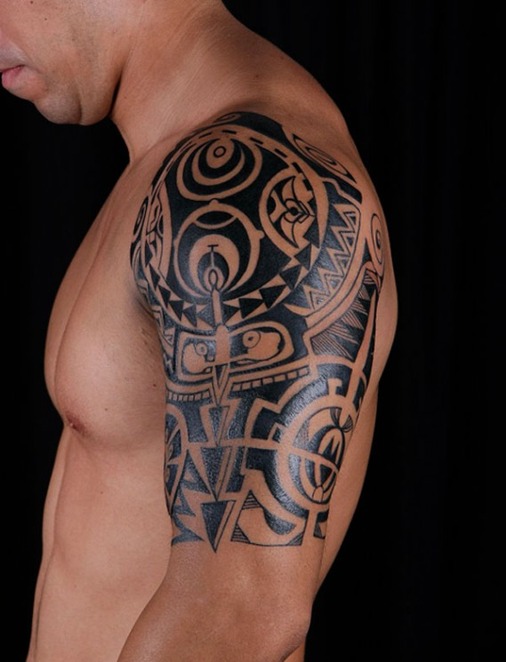 Greek Tattoo Design On Back Of Shoulder