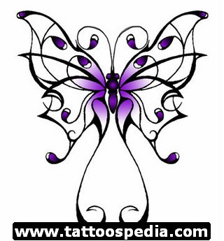 Green Cancer Ribbon Butterfly Tattoo Design