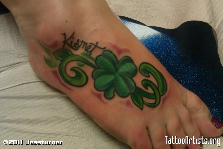 Green Clover Tattoo On Foot