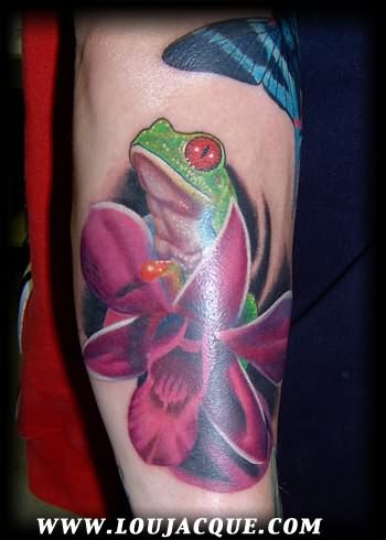 Green Frog In Pink Flowers Tattoo Design