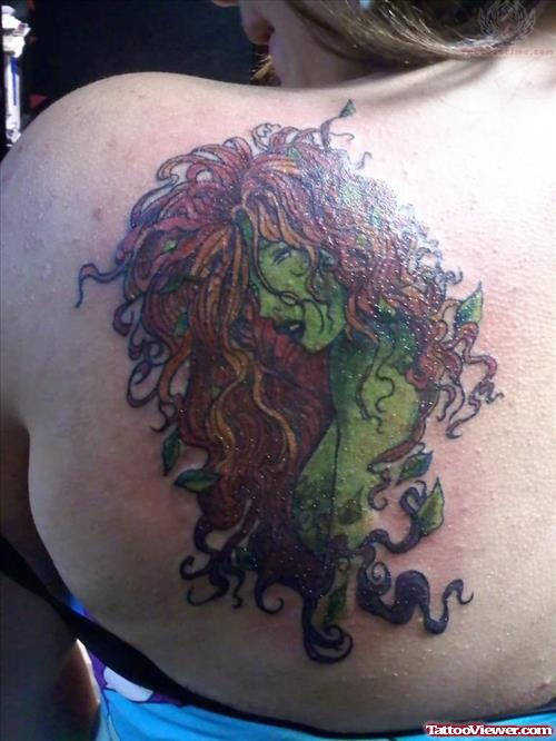 Green Ink Ivy Leafs Tattoo On Back