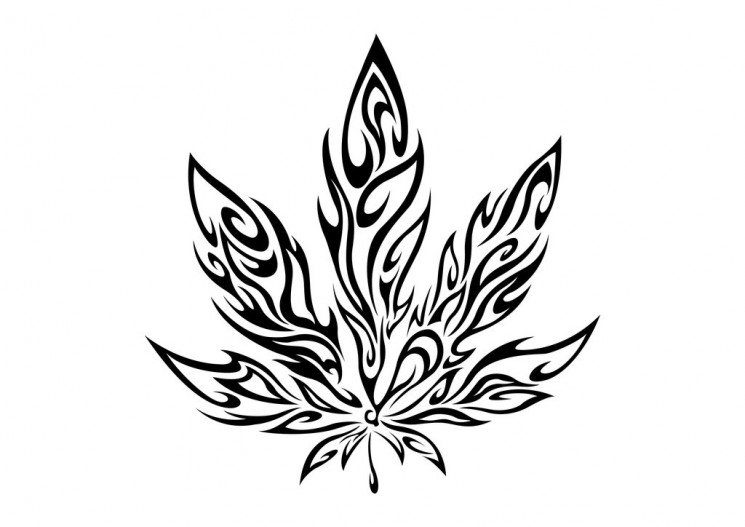 Green Ink Tribal Pot Leaf Tattoo Design