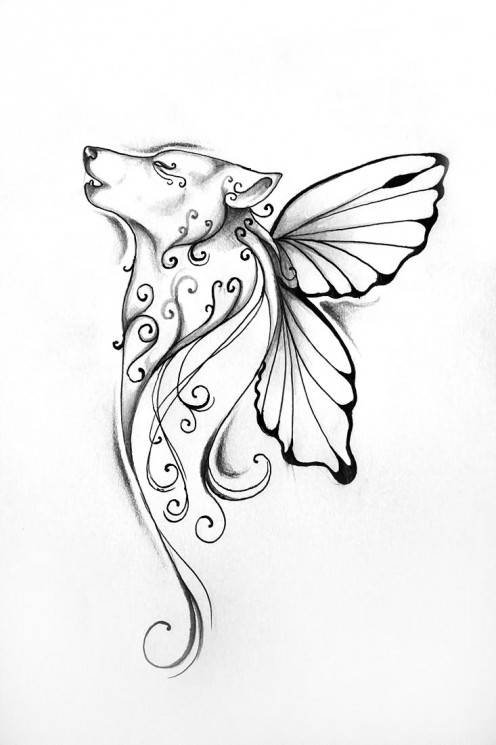 Green Leaves with Angel – Fantasy Tattoo