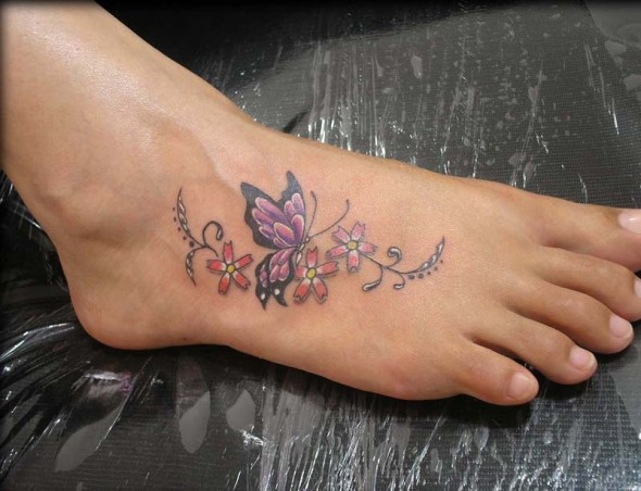 Green Leaves with Butterfly Tattoo on Foot