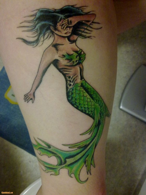 Green Tail Mermaid Tattoo Sample