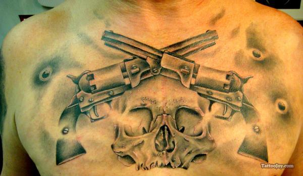 Grey Crossed Pistol And Rose Tattoos On Chest