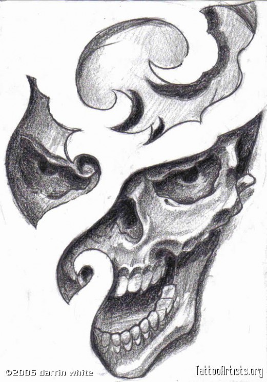 Grey Flames And Pirate Skull Tattoos
