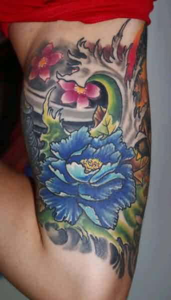 Grey Flowers Muscles Tattoos