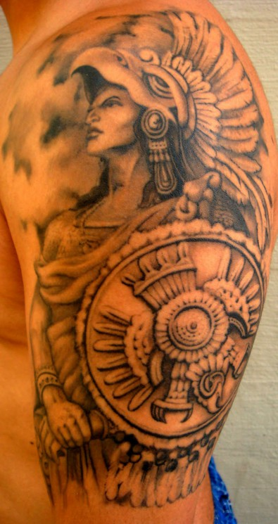 Grey Ink Ancient Warriors Tattoos On Lower Back