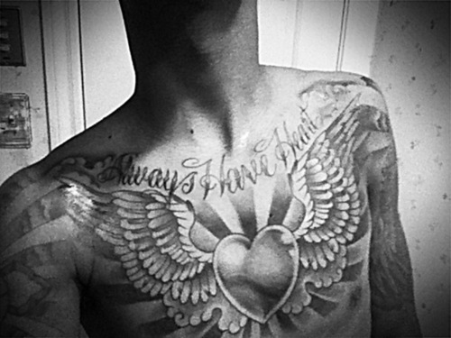 Grey Ink Angel Wings Tattoos On Chest