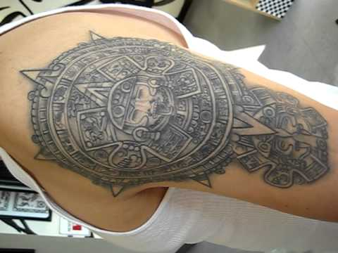 Grey Ink Aztec Pyramid Tattoo On Muscles