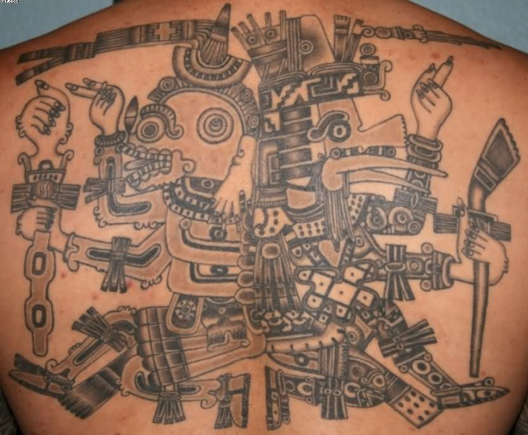 Grey Ink Aztec Warrior Tattoo On Muscles For Guys