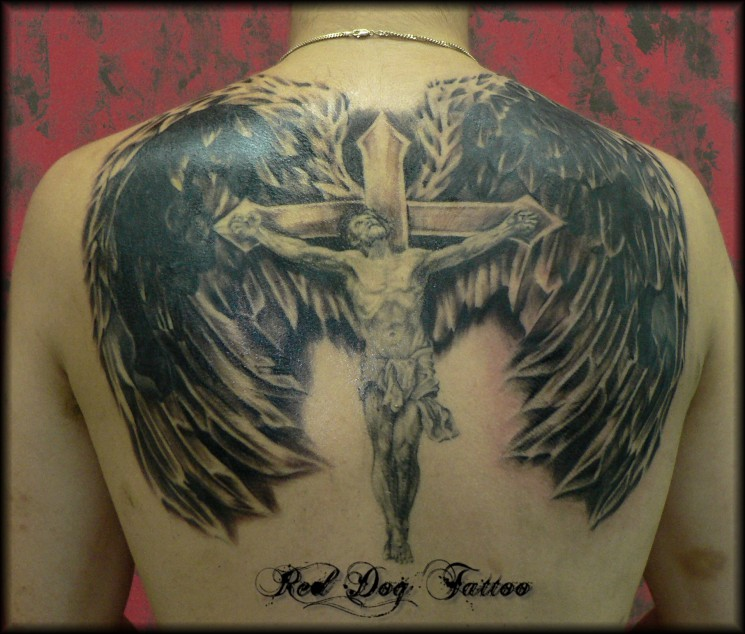 Grey Ink Barbed Christian God Portrait Tattoo