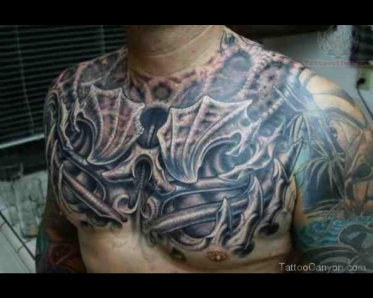 Grey Ink Biomechanical Tattoo On Chest