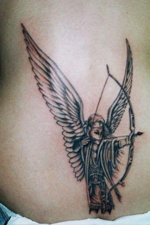 Grey Ink Bow And Arrow Tattoos