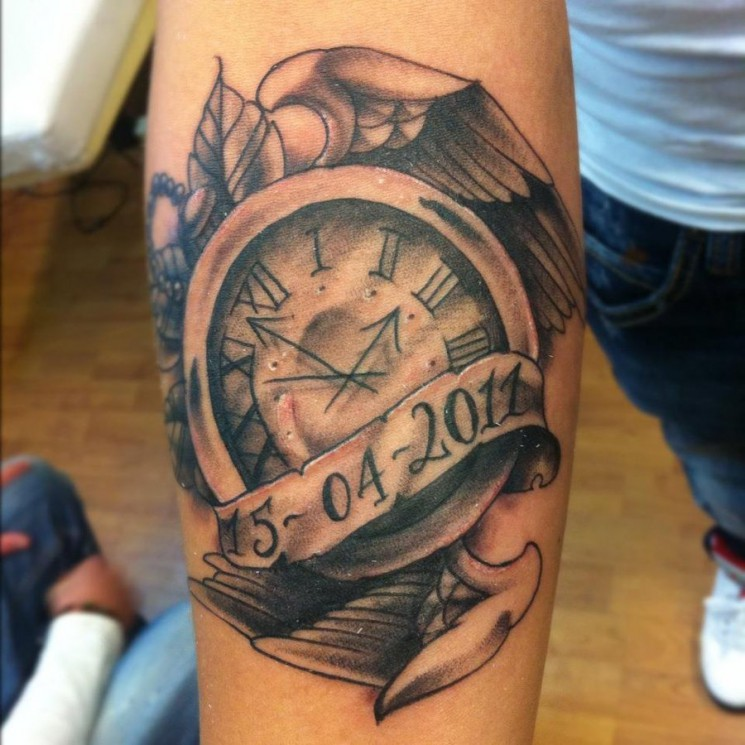 Grey Ink Broken Clock And Gear Tattoos On Forearm