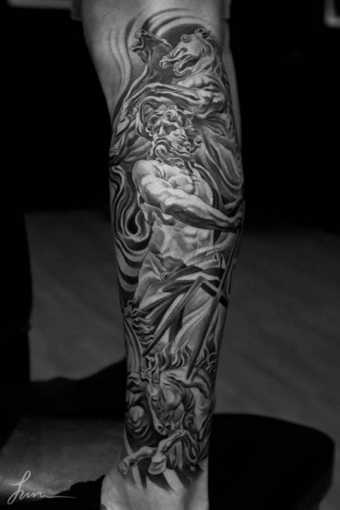 Grey Ink Clock Tower Tattoo On Forearm