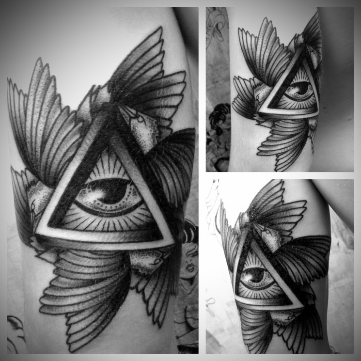 Grey Ink Eye Triangle With Wings Tattoo
