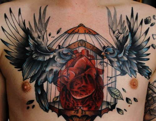 Grey Ink Heart Stomach Crow Tattoo On Chest