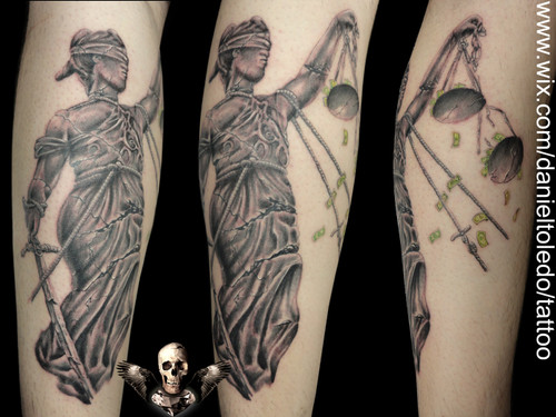 Grey ink lady justice tattoo on arm photo 2 2017 real for Metallica sleeve tattoo