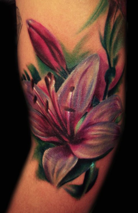 Grey Ink Lily Flower And Star Tattoos On Side