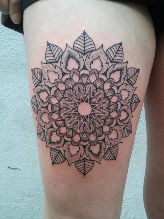 Grey Ink Mandala Tattoo On Right Thigh
