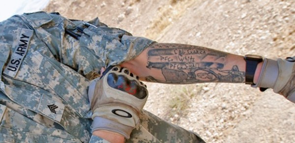 Grey Ink Military Tattoo On Forearm