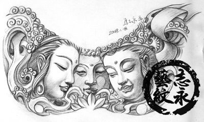Grey Ink Religious Buddhist Tattoo Design