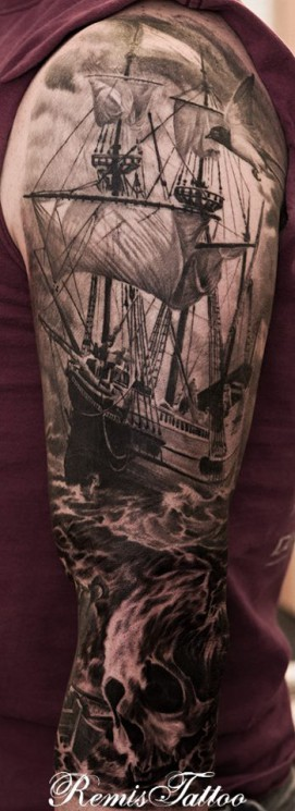 Grey Ink Ship With Skull Flag Tattoo On Back Shoulder