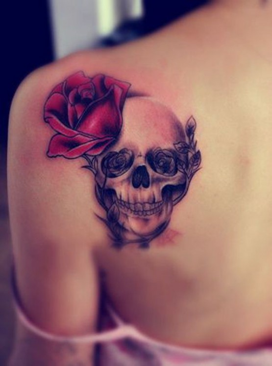 Grey Ink Skull And Roses Tattoos For Young Girls