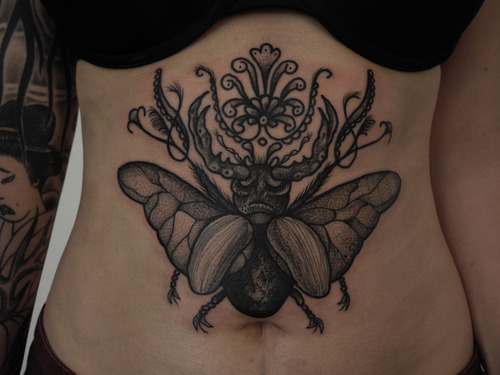 Grey Ink Stomach Tattoos