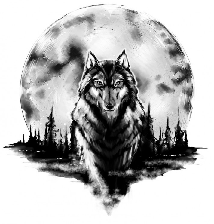 Grey Ink Tribal Wolf Tattoo On The Back