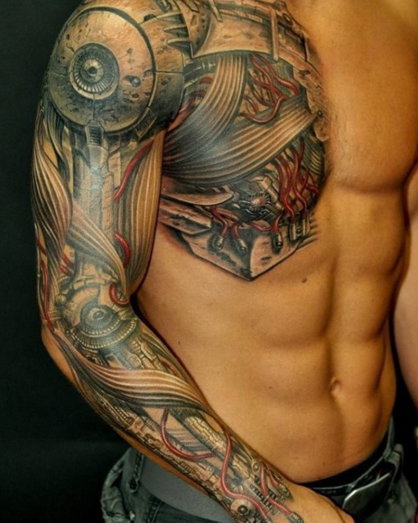 Grey Ink Wizard Tattoo On Muscles