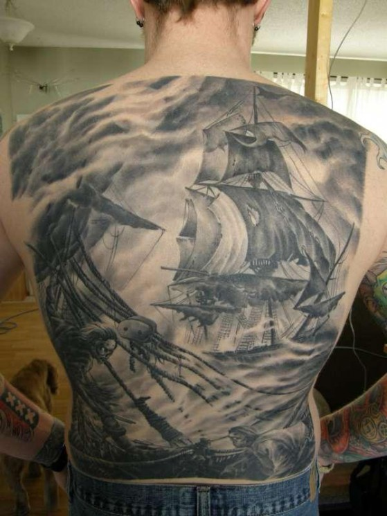 Black-Grey Pirate Tattoos On Entire Back