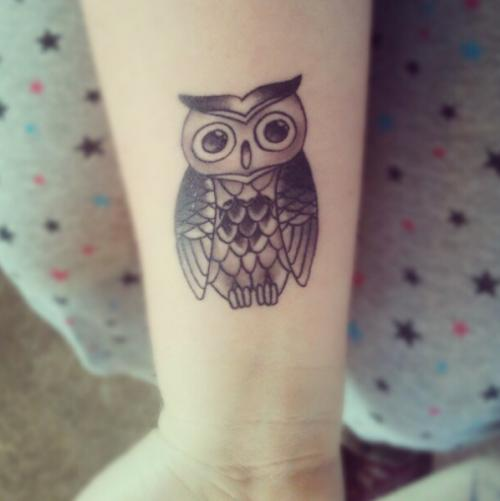 Grey Owl On Key Tattoo