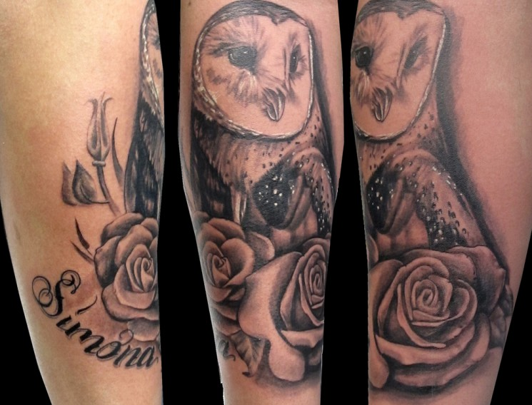 Grey Owl With Rose Tattoos For Girls