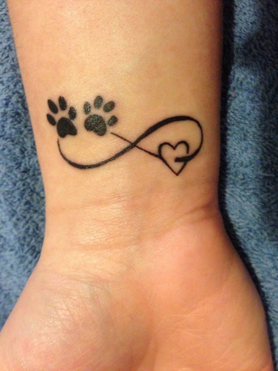 Grey Paw Print With Name And Heart Tattoos On Wrist