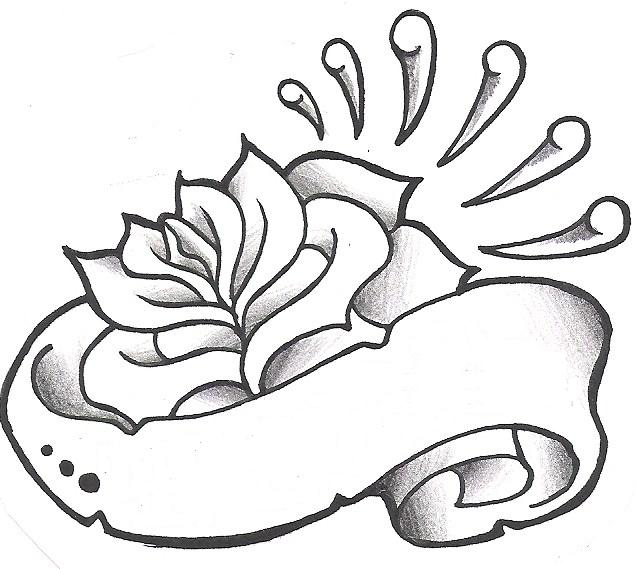 Grey Rose With Ribbon Tattoo Design