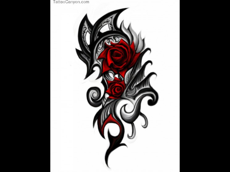 Grey Roses And Tribal Tattoos Design