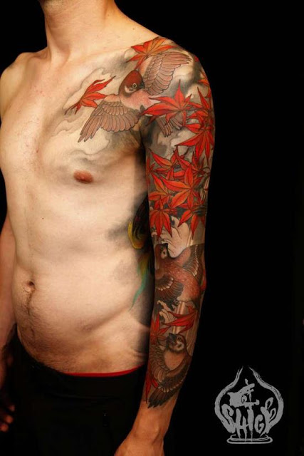 Grey Waves And Koi Tattoos On Arm