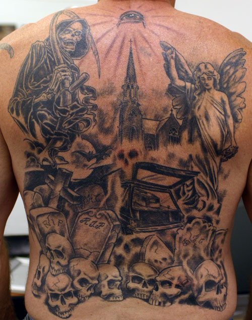 Grim Reaper Angel Graveyard Tattoo On Back Body