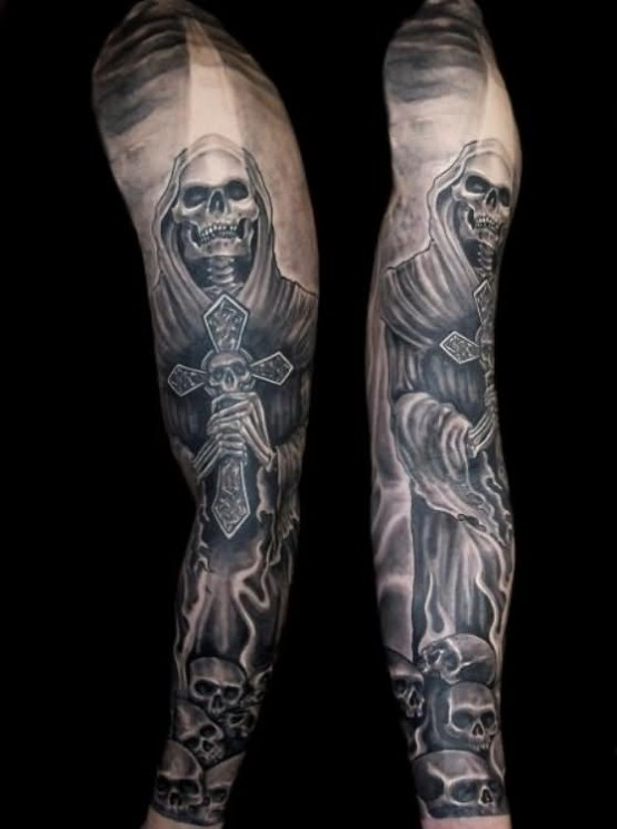 Grim Reaper With Gun Tattoo Design