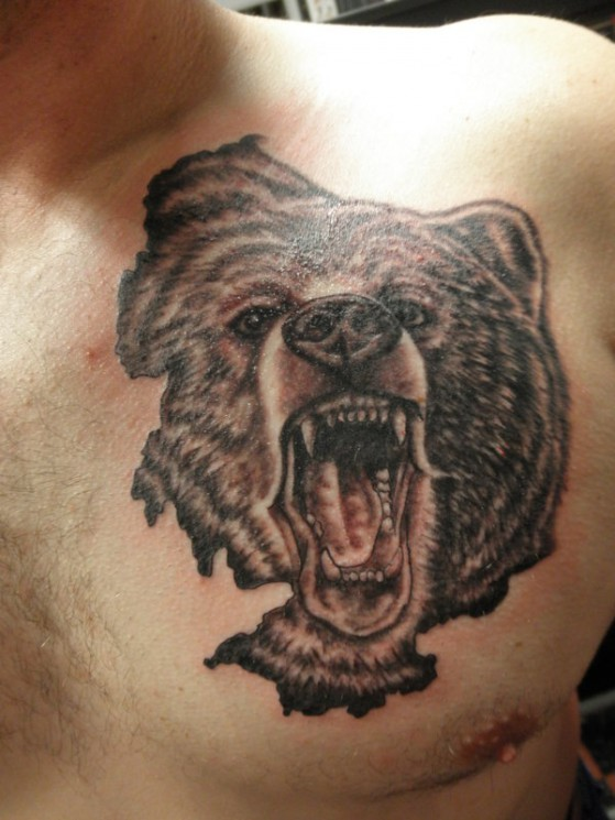 Grizzly Bear Face Tattoo On Chest
