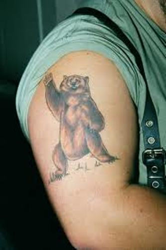 Grizzly Brown Bear Tattoo On Ribs