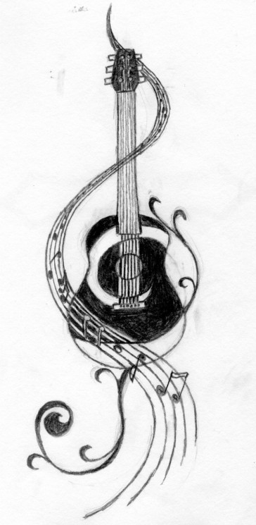 Guitar And Music Notes Tattoo Design
