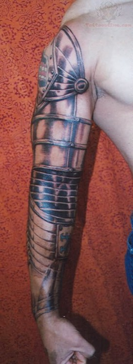 Gun Helmet And Armour Tattoos On Half Sleeve