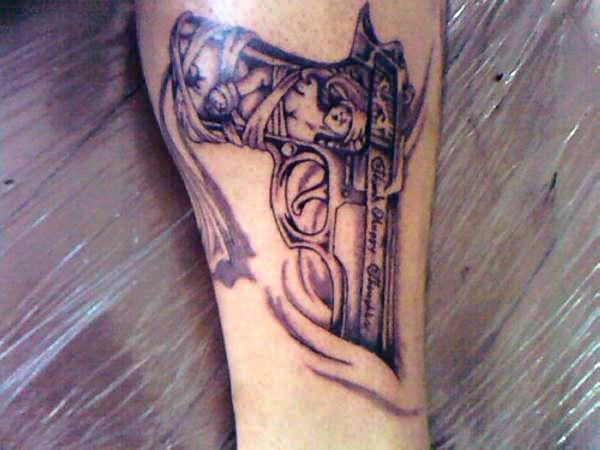 Gun Tattoo For Men On Hip